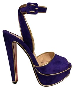 Christian Louboutin Suede Platform Ankle Strap Stiletto Gold purple Pumps
