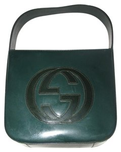 Gucci Large Embossed Gg Rare Green Color Great Pop Of Red Lining Excellent Vintage Hobo