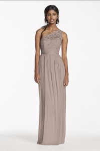 David's Bridal Quartz Long One Shoulder Lace Bridesmaid Dress Dress