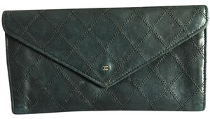 Chanel Authentic Chanel Stitch Black Leather CoCo Wallet