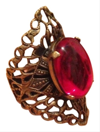 Other Psychedelic Bohemian Boho Filigree Red Brass Cocktail Ring