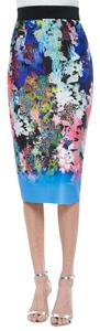 MILLY Pencil Tropical Floral Bright Skirt multi color Ombre