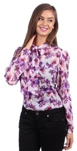 American Apparel Neck Tie Secretary Floral Chiffon Top purple