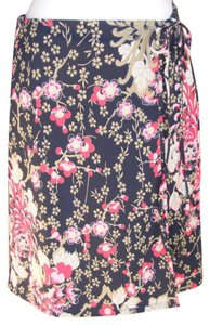 Anne Klein Floral Faux Wrap Elastic Tied Skirt multi