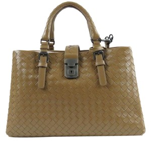 Bottega Veneta Roma Intrecciato Woven Satchel in Cigar