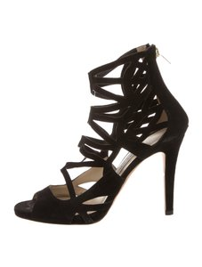 Jimmy Choo Suede Gladiator Caged 7 Black Sandals