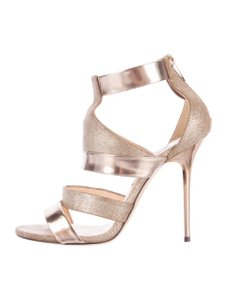 Jimmy Choo Glitter Caged 9 Gold Sandals