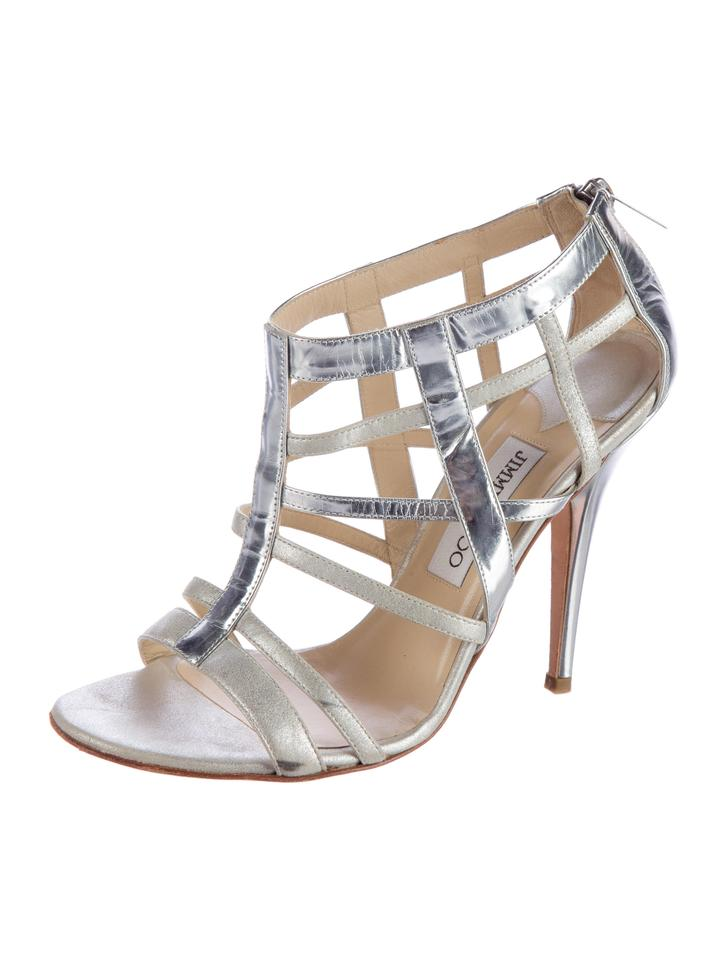 672992c62873 Jimmy Choo Silver Metallic Caged Multistrap High Sandals Size US 9.5 ...