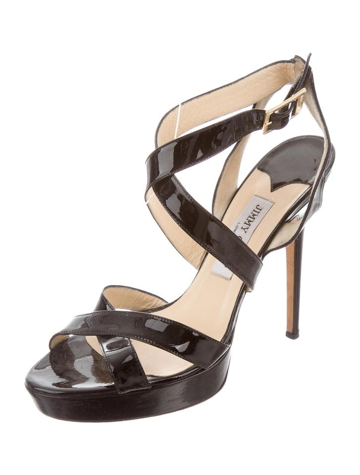 Jimmy Choo Black Gloss Vamp Strappy Multistrap Platform Gloss Black High Heels Sandals 734153