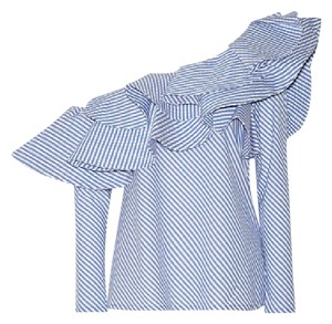 Johanna Ortiz Anastasia One Striped Classic Top Blue and White