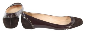 Christian Louboutin Brown Patent Leather Suede Studded Flats