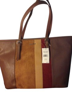 Nine West Panel Color-blocking Exclusive Leather Neutral Tote in TOBACCO-DARK CAMEL-RUSSET-TOASTED OAT