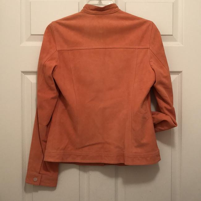 Faonnable Suede Mother Of Pearl Coat Blazer Orange Leather Jacket Image 1