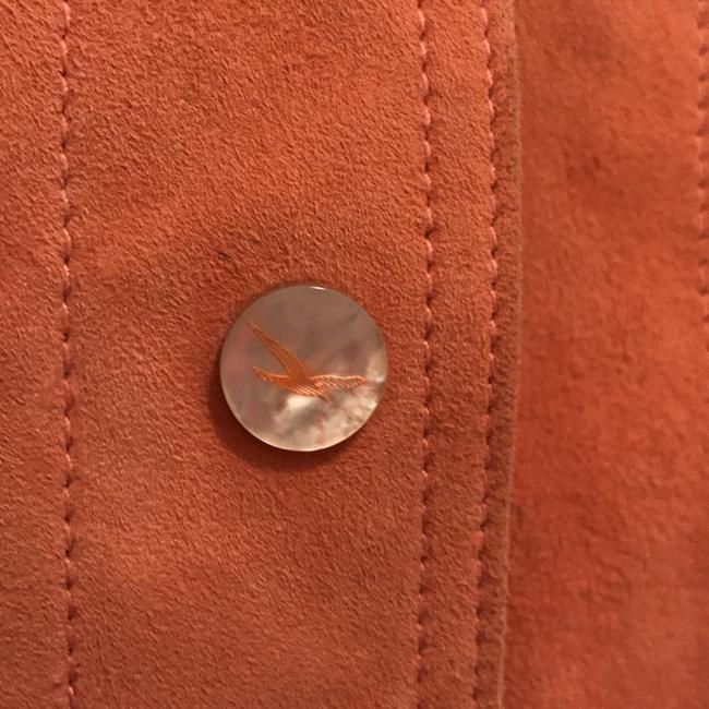 Faonnable Suede Mother Of Pearl Coat Blazer Orange Leather Jacket Image 2