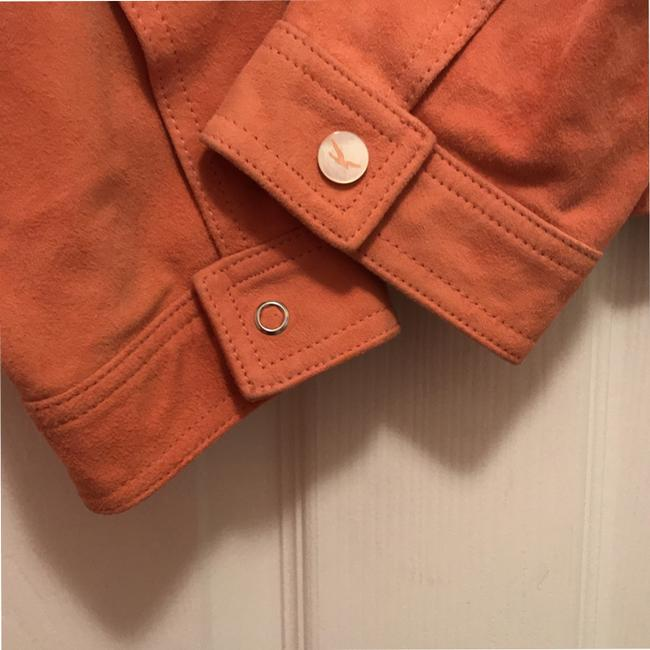 Faonnable Suede Mother Of Pearl Coat Blazer Orange Leather Jacket Image 4