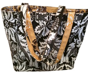 Gigi Hill Reversible Tote in Brown, White and Yellow
