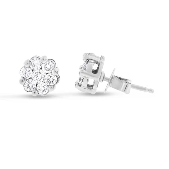 Other 1.00 CT Natural Diamond Flower Stud Earrings in Solid 14k White Gold