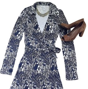 Diane Von Furstenberg Wrap Dress short dress Navy/White on Tradesy