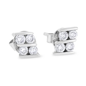Other 0.29 CT Natural Diamond Fashion Earrings in Solid 14k White Gold
