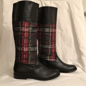 Coach Leather Signature/logo Canvas New/nwt Black Red White Pllaid Boots