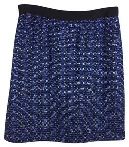 Kate Spade Tweed Pencil Skirt Blue Black Silver