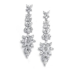 Mariell Silver With Cubic Zirconia Marquis Cluster 2021e Earrings