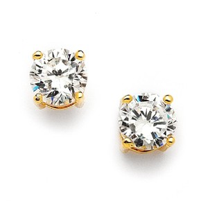 Mariell Gold 8mm Round Cubic Zirconia Stud 708e-cr-g Earrings