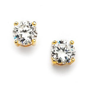 Mariell 8mm Gold Round Cubic Zirconia Stud Earrings 708e-cr-g