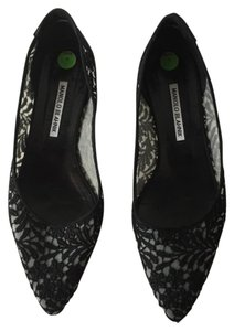 Manolo Blahnik Manolo Lace Applique Black and Grey Flats