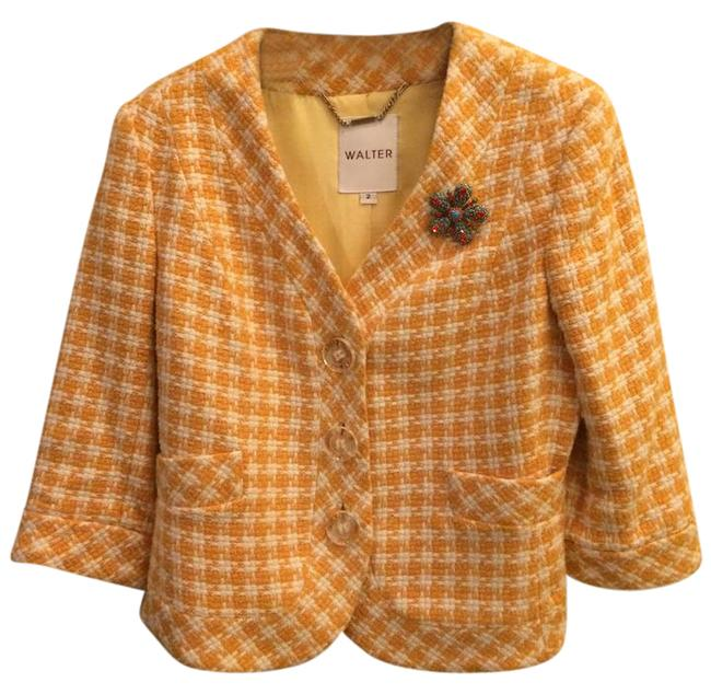 Preload https://item5.tradesy.com/images/walter-by-walter-baker-yellow-and-cream-tweed-cropped-blazer-size-2-xs-20567874-0-1.jpg?width=400&height=650