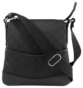 ce7d5c77d1a4 Gucci 374416 Gg Small Leather Trim Crossbody Black Canvas Messenger ...