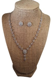 Silver Plated Brilliant Cubic Zirconia Necklace Jewelry Set
