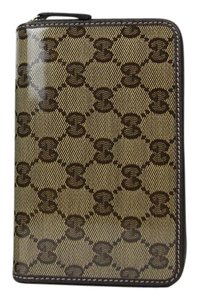 Gucci New Gucci Brown Crystal GG Canvas Zip Around Wallet 420113 9903