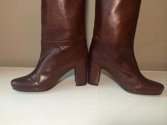 Stuart Weitzman Size 4 Leather Knee High Pull On Brown/Chesnut Boots