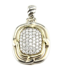 David Yurman David Yurman Labyrinth Pave Diamond Silver & 18K Pendant (110090)
