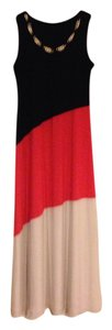 Black, Salmon & Beige Maxi Dress by JBS Limited Nwt Jbs Maxi Large