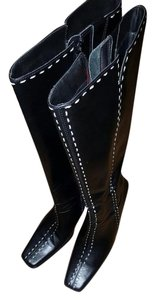 Diba Wedge Knee High Leather Vintage Riding Black Boots