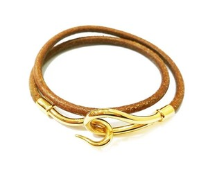 Hermès Hermes Hook 18K Gold Plated Palladium Leather Bracelet /Choker