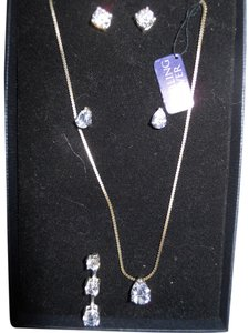 Sterling silver cz pendants and earrings set