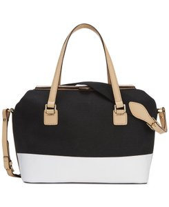 Isaac Mizrahi Leather Canvas Satchel in White and Black with natural handles