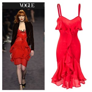 Saint Laurent Tom Ford Yves Formal Cocktail Ruffles Dress