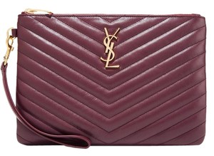 Saint Laurent Ysl Clutch Pouch Monogram Wristlet in merlot