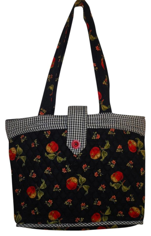 April Cornell For Silvestry Quilted Tote Black Red White Cotton