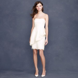 J.Crew Ivory Nylon with Silk Trim Cha Cha In Lace Formal Wedding Dress Size 4 (S)