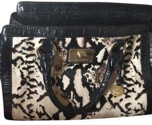 Brahmin Satchel in Black with White black and gray leopard print