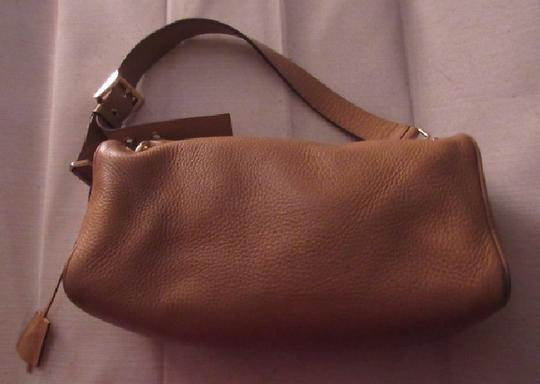 Prada 1960's Mod Look Boxy W Wide Strap Padlock & Key Mint Vintage Great For Everyday Satchel in camel/dark mustard leather