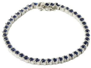 Other ** NWT ** BLUE SAPPHIRE TENNIS BRACELET in 14K WHITE GOLD