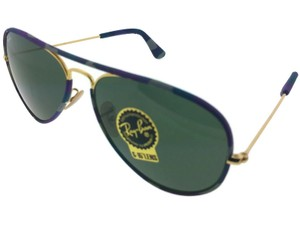 Ray-Ban RB3025JM-172 Aviator Unisex Blue frame Green Lens Genuine Sunglasses