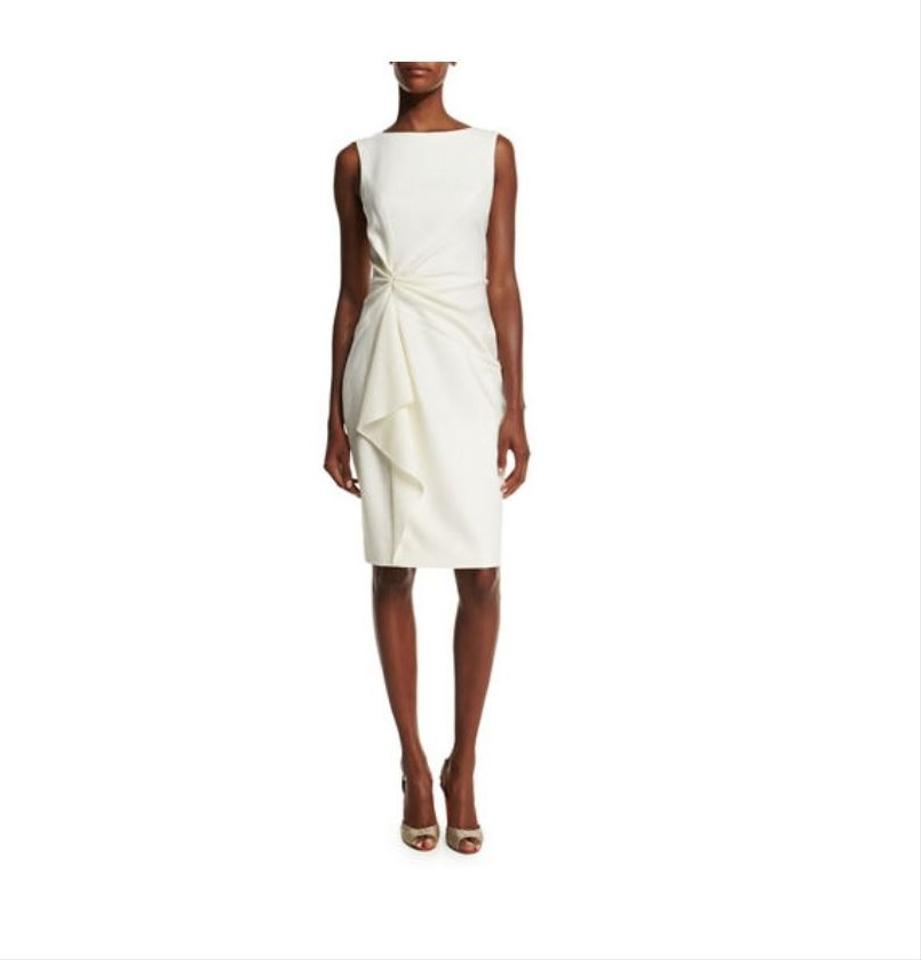 Carolina Herrera Cream Bateau Cocktail Dress Size 10 (M) - Tradesy