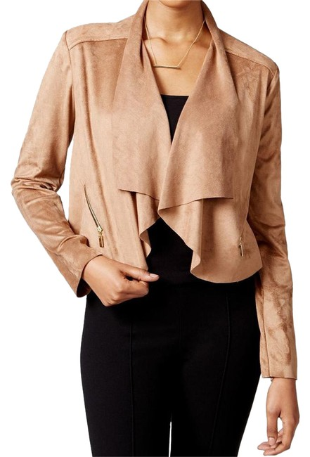 Preload https://img-static.tradesy.com/item/20568936/bar-iii-brown-walnut-faux-suede-draped-open-front-cropped-top-size-8-m-0-1-650-650.jpg
